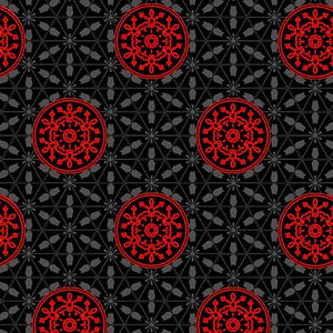 Moroccan Red - Red Medallions on Black Ground