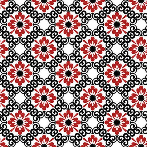 Moroccan Red - Red Small Flower With Black Trellis