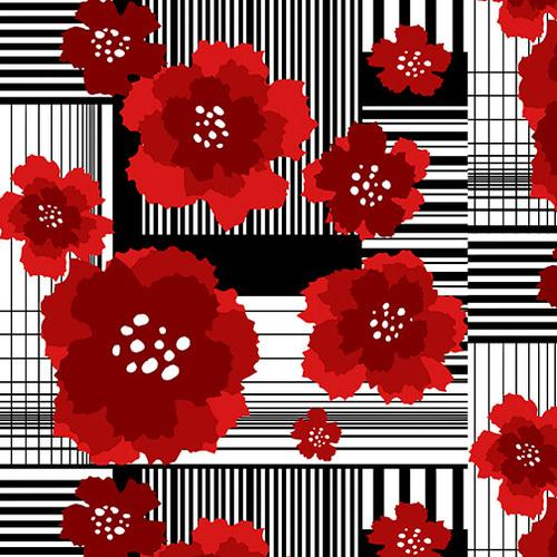 Moroccan Red - Red and Black Funky Flowers on Stripe Patchwork