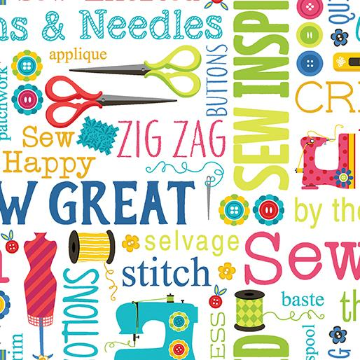 Sew Excited Sew Wordy White