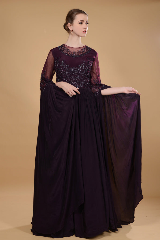 Dark purple gown.
