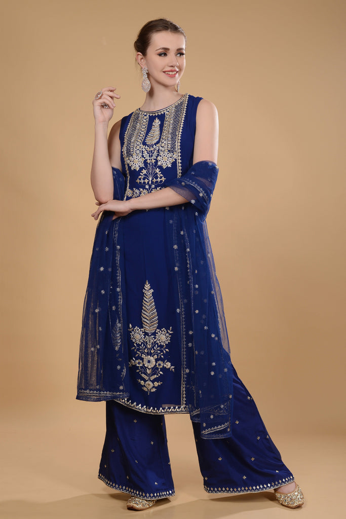 Royal blue kurti and pallazo set.