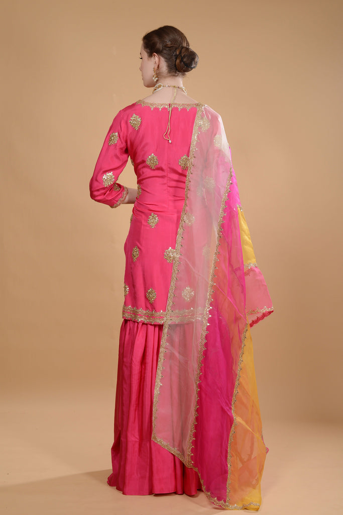Fuchsia pink kurti and sharara set.