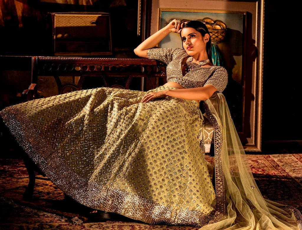 Mint Green Mirror Lehenga Set.