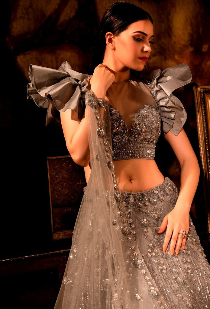 Grayish Lehenga set with dupatta.