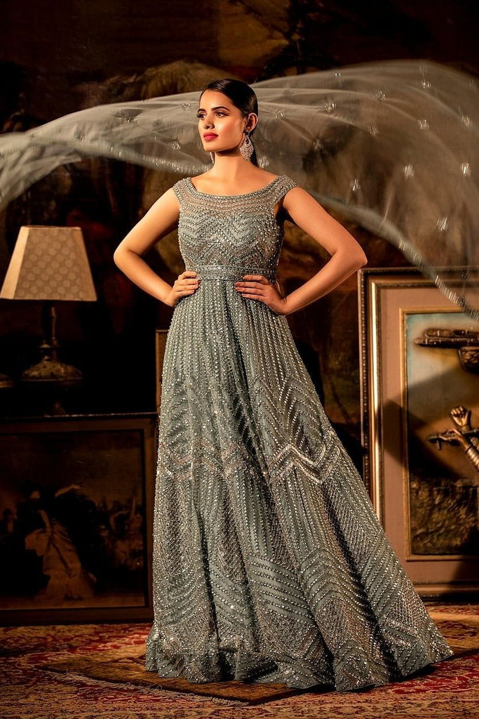 Grayish blue Embellished gown with dupatta.
