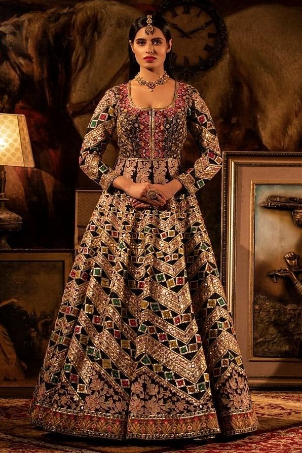 Multi-colour Embroidered black Anarkali.