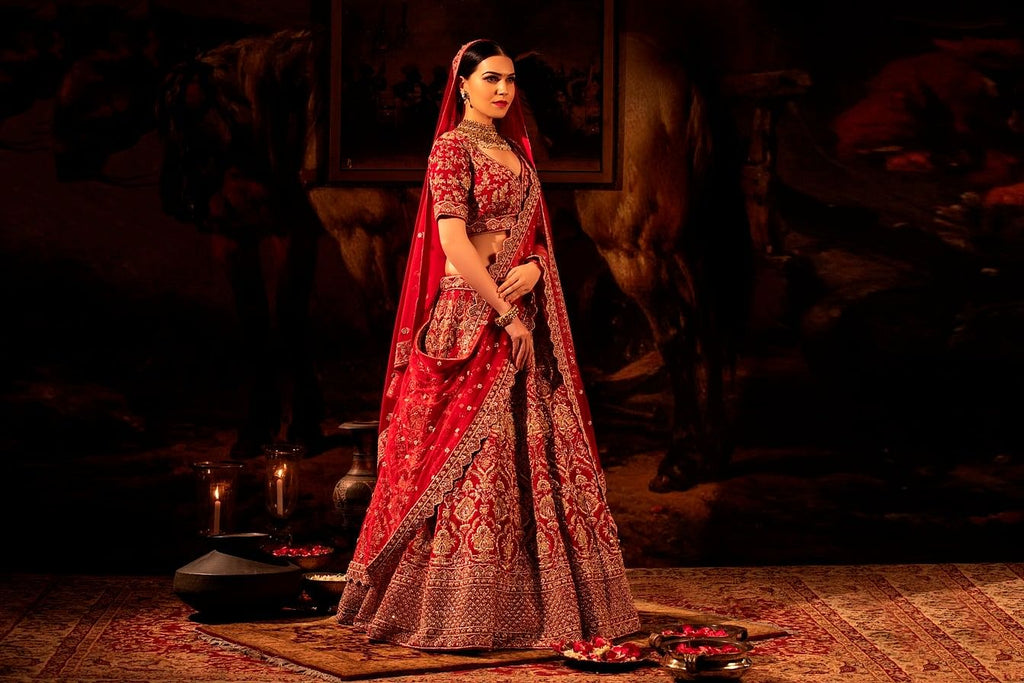 Vermilion red Bridal Lehenga Set.
