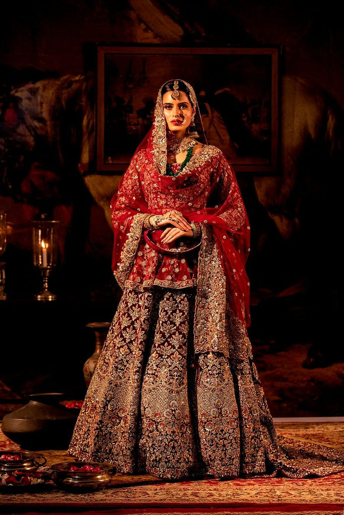 Maroon peplum with Trail Lehenga Set.