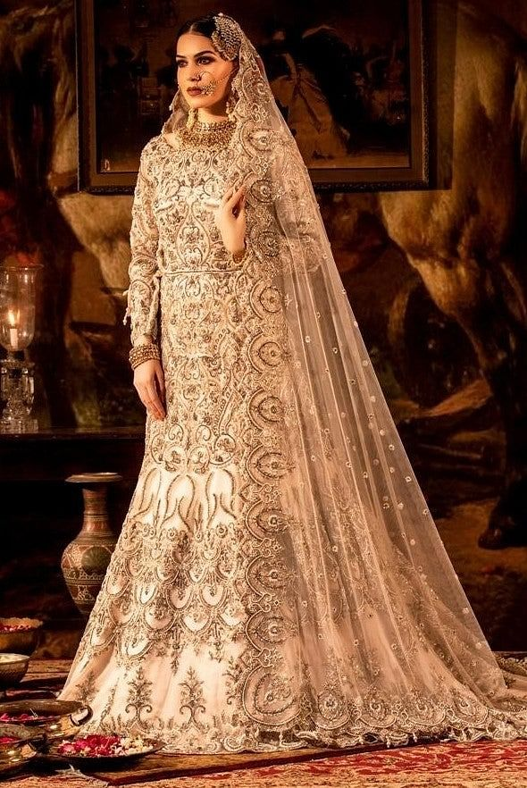 Ivory embroidered Trail Gown with Dupatta Set.