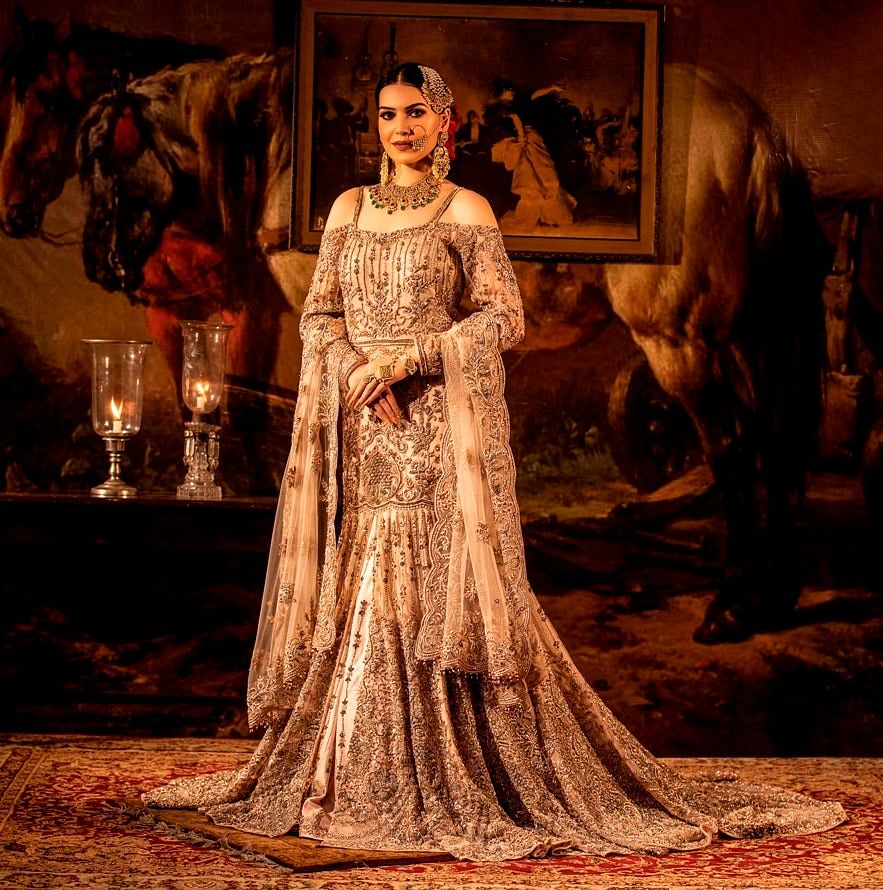 Beige cold-shoulder Mermaid Trail Gown with Net Dupatta.
