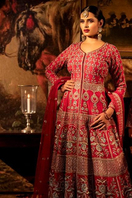 Scarlet red Jacket with Net dupatta.