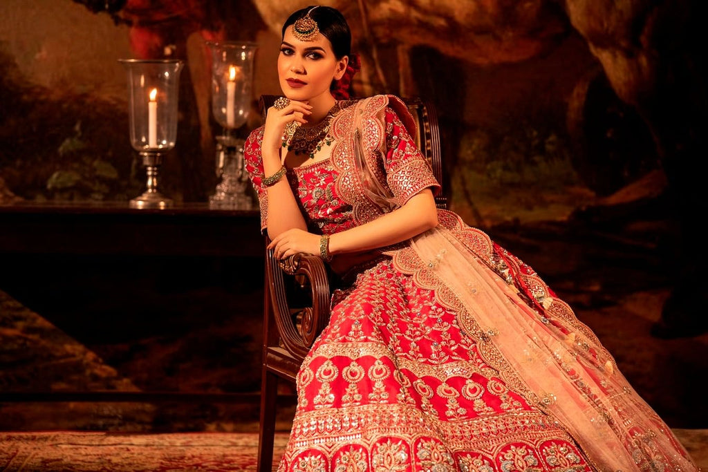 Bright red Lehenga set.