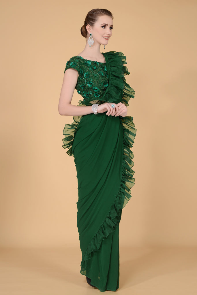 Emerald Drape Saree