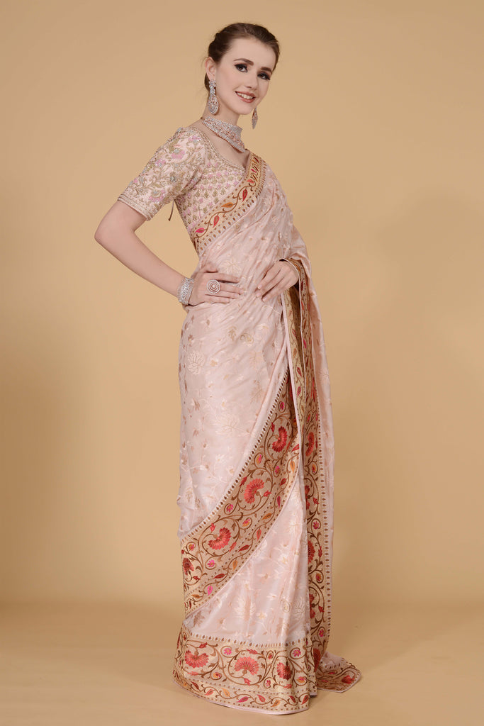Blush Pale Pink Saree