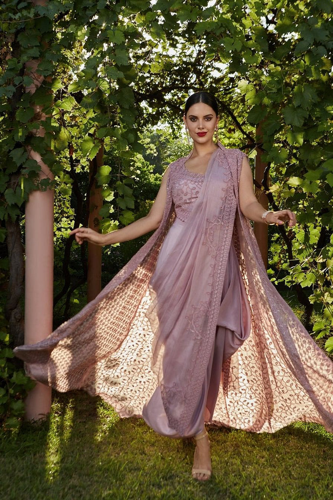 Blush Pink Drape Saree With Cape Frontier Bazarr