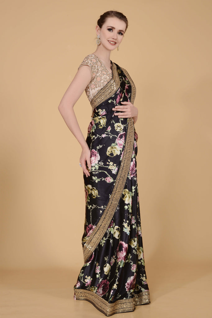 Jet Black Printed Saree