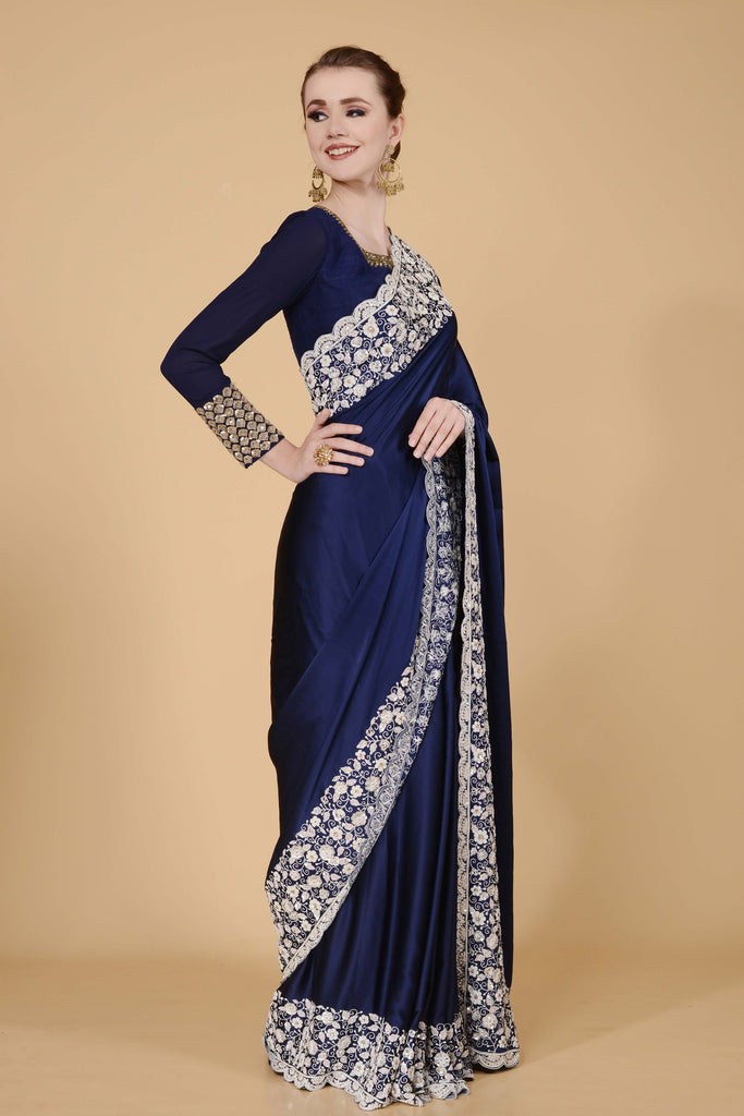 Navy Blue with White Border Saree