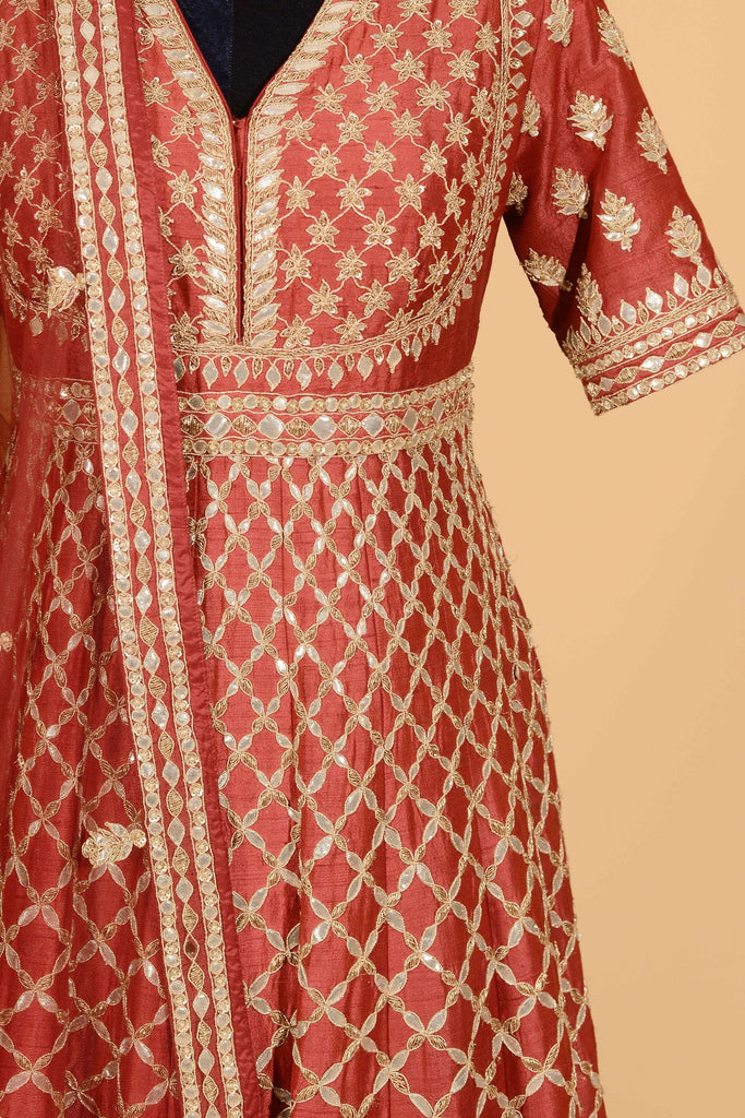 Deep red anarkali with dupatta set.