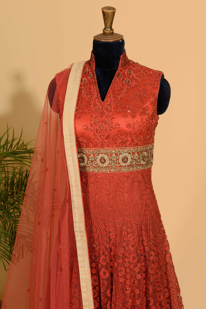 Red anarkali with dupatta set.