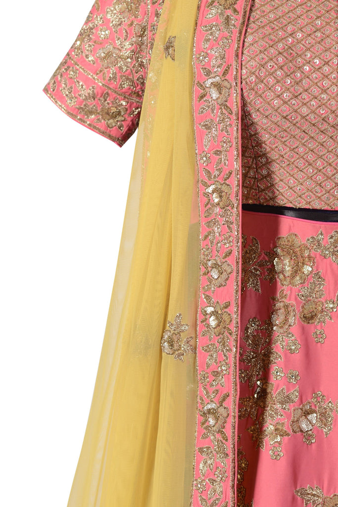 Bright pink lehenga set.