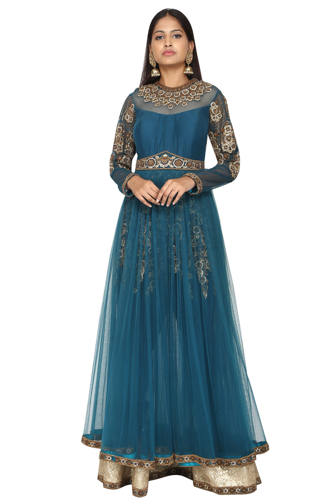 Prussian Blue mesh anarkali