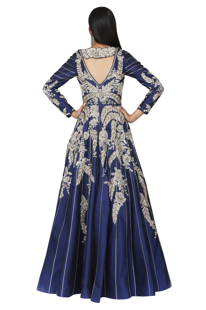 Royal Blue Embroidered Gown.