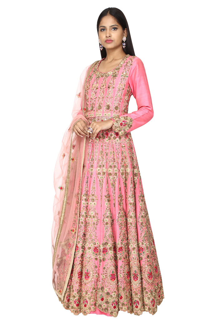 Rose Pink Embroidered Anarkali.