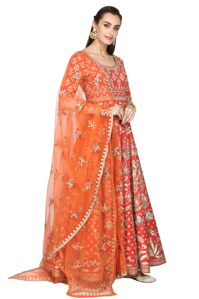 Tangerine Orange Anarkali.