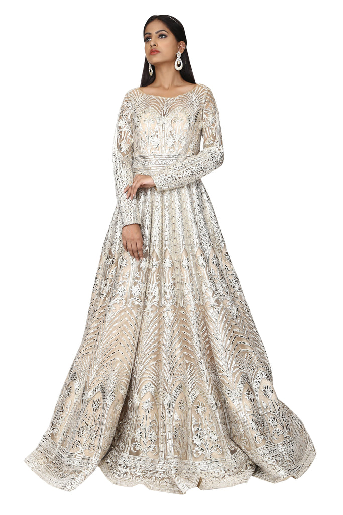 Silver embroidery panel gown