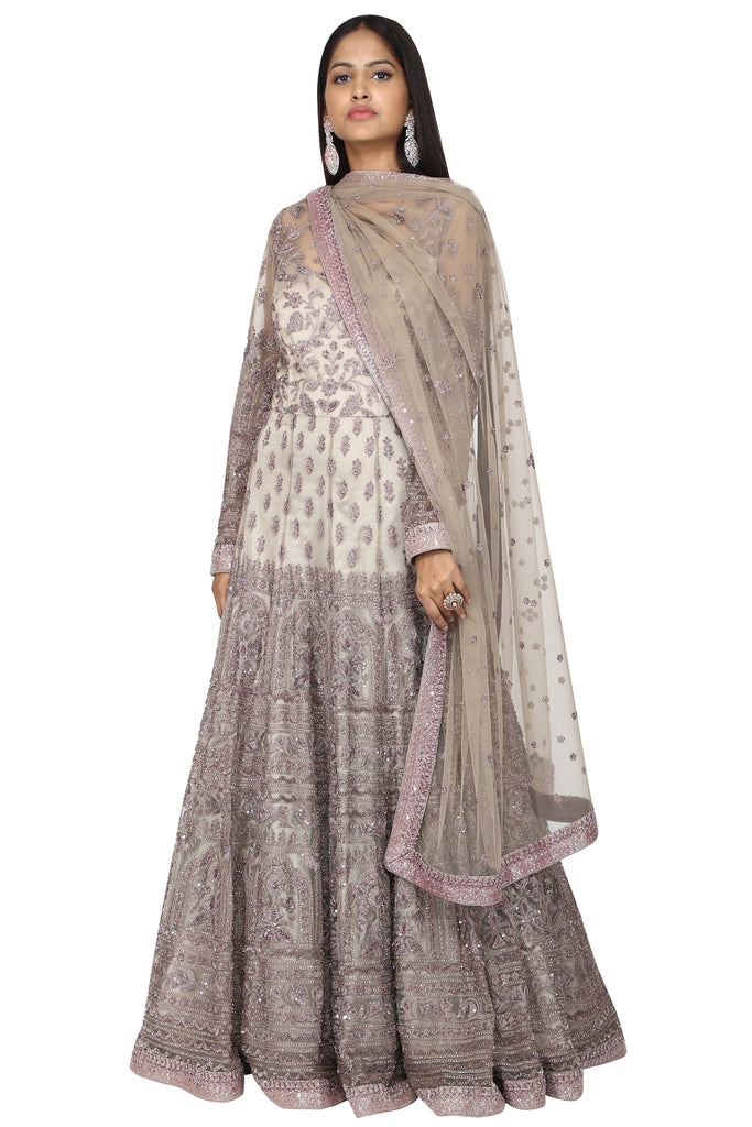 Panel embroidery lavender off-white anarkali