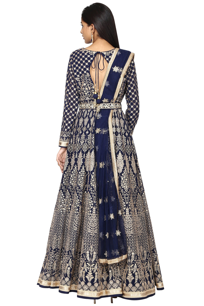 Deep Blue anarkali set.