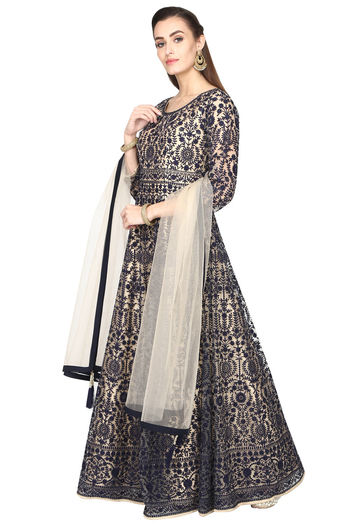 Nude Beige Embroidered Anarkali with Dupatta.