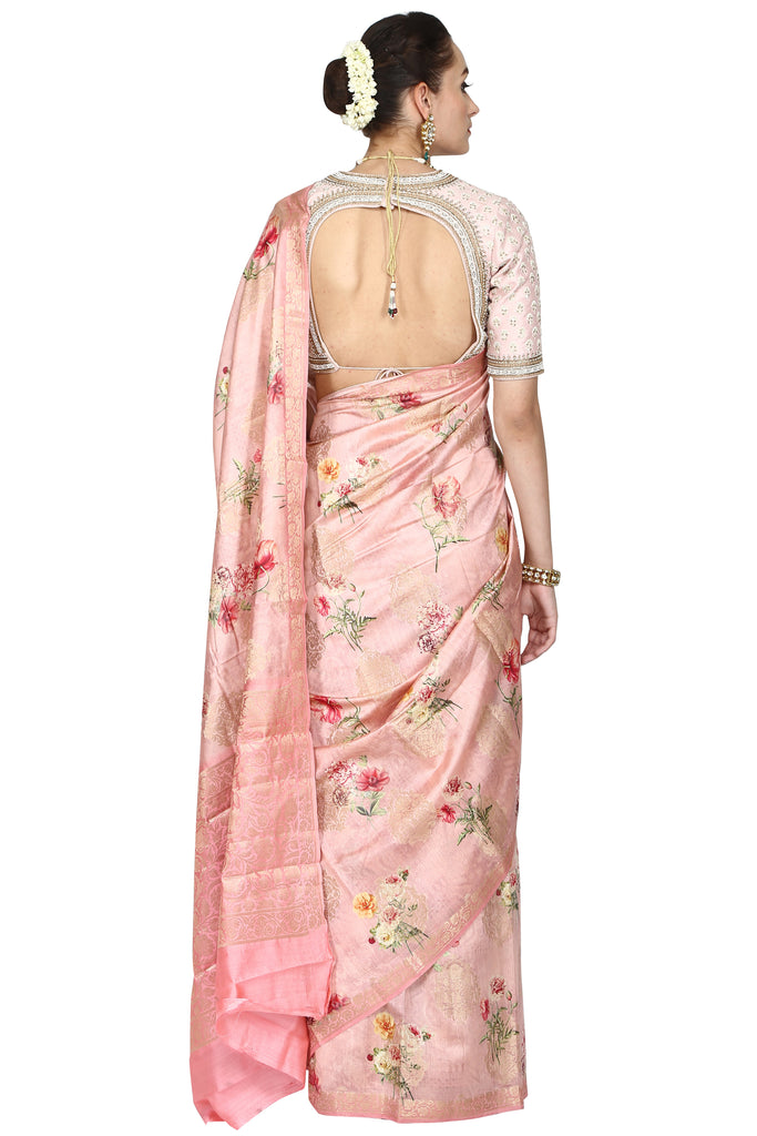Pink rose digital printed saree.