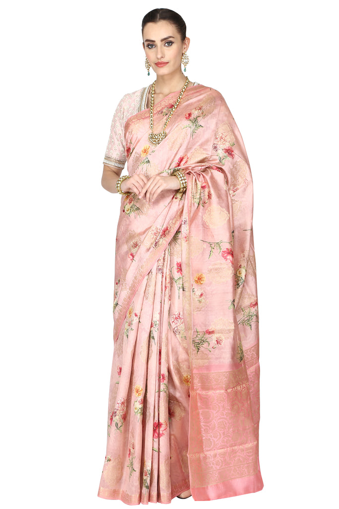Misty rose silk saree.