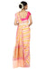 Pink and yellow handloom banarasi saree with blouse