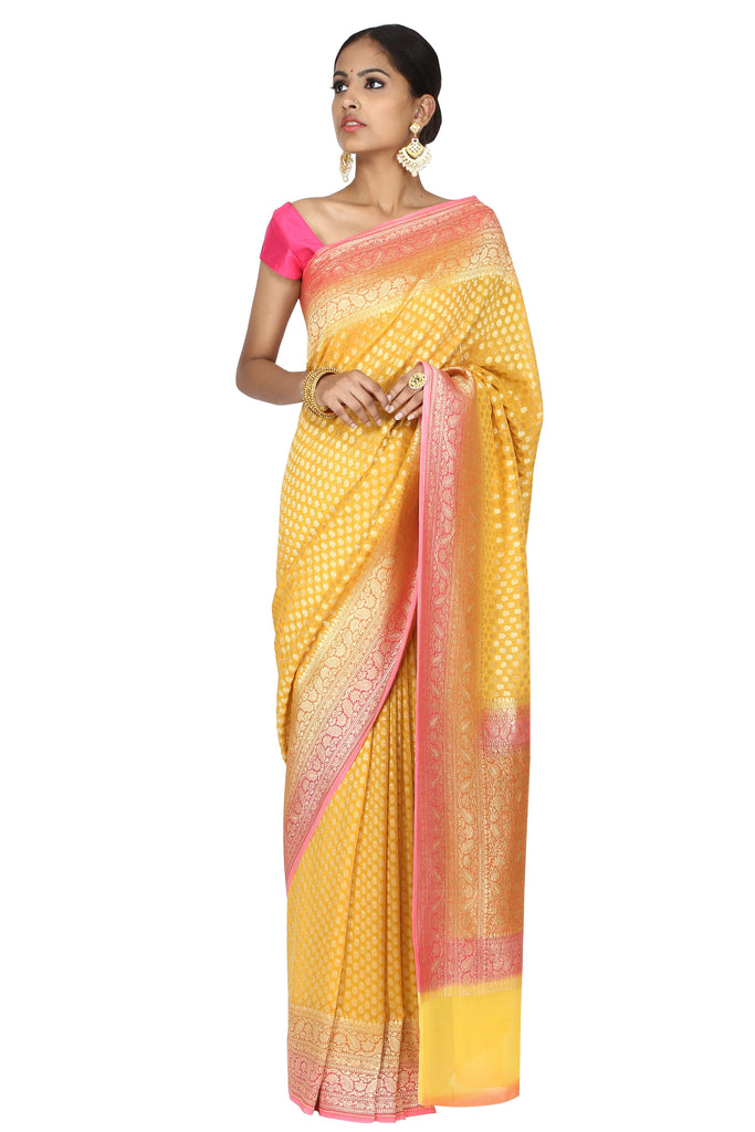 Bright Yellow saree.
