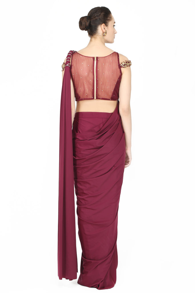 Mulberry drape saree.