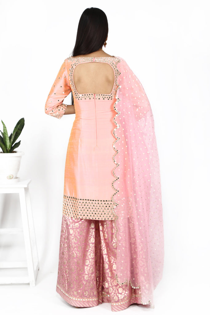 Champagne pink with sharara set.