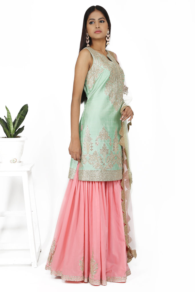 Powder blue tunic with soft pink sharara