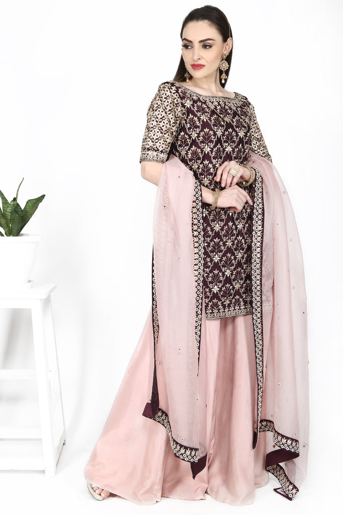 Wine tunic with pale pink sharara set