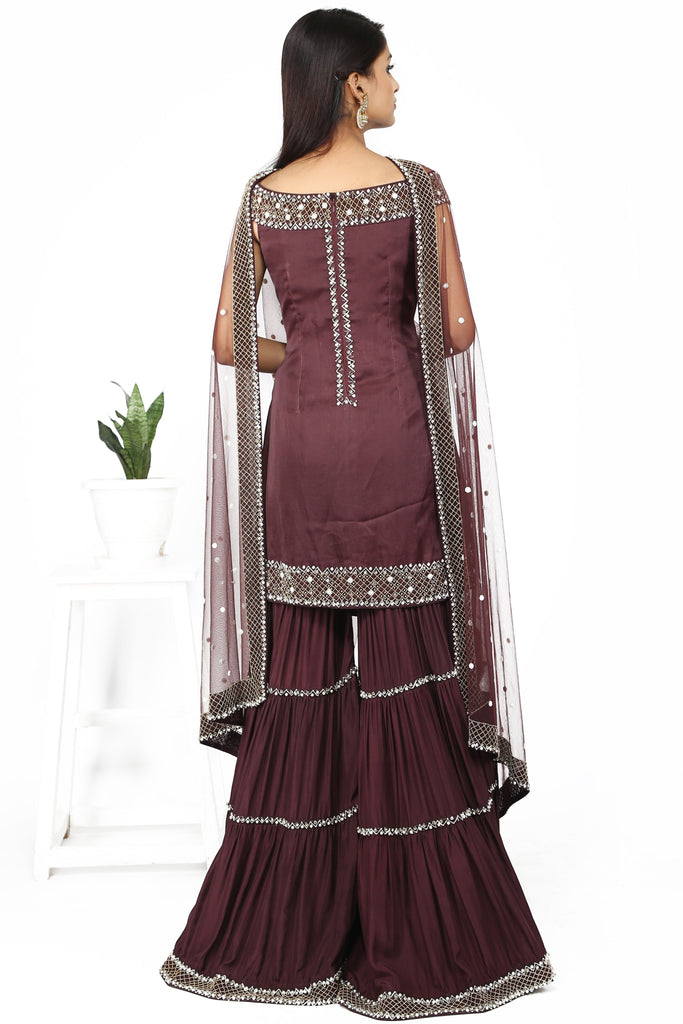 Mahogany brown sharara set.