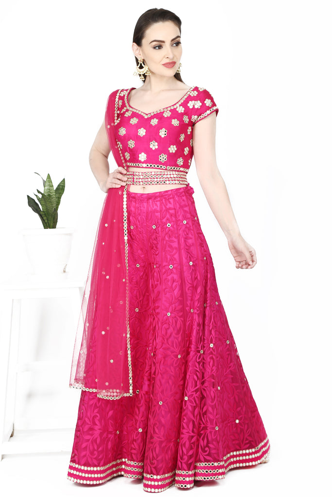 Fuchsia Pink blouse and sharara set.