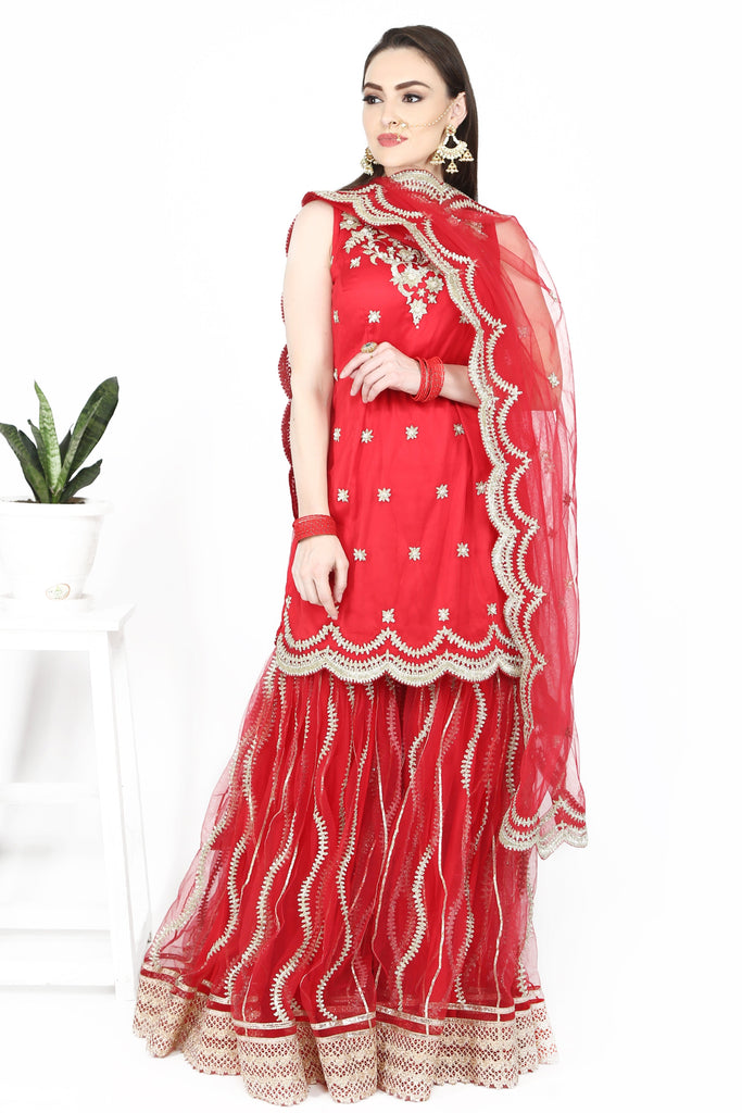 Scarlet red sharara set