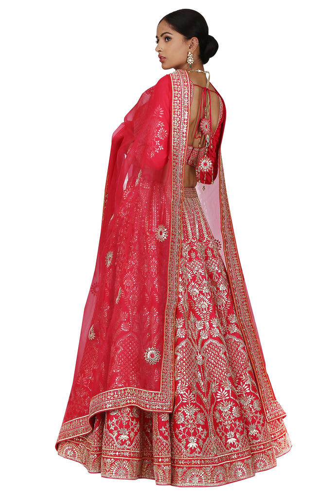 Rose Pink Embroidered Lehenga Set.