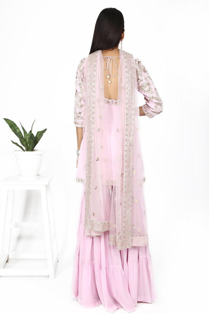 Pink rose sharara set