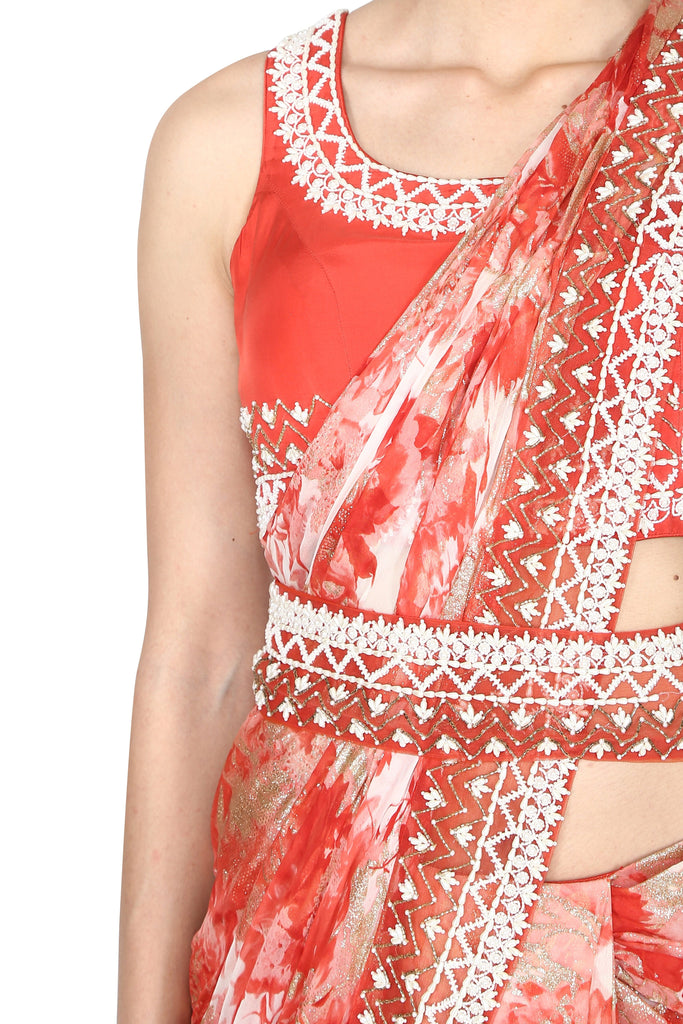 Red and pink pre-drape saree
