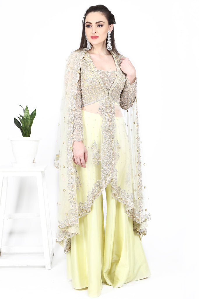 Lemon Yellow Blouse Cape and Sharara set