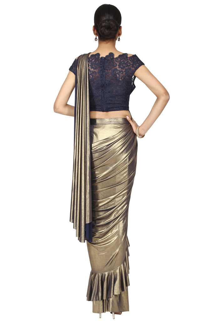 Metallic bronze golden with blue drape saree.