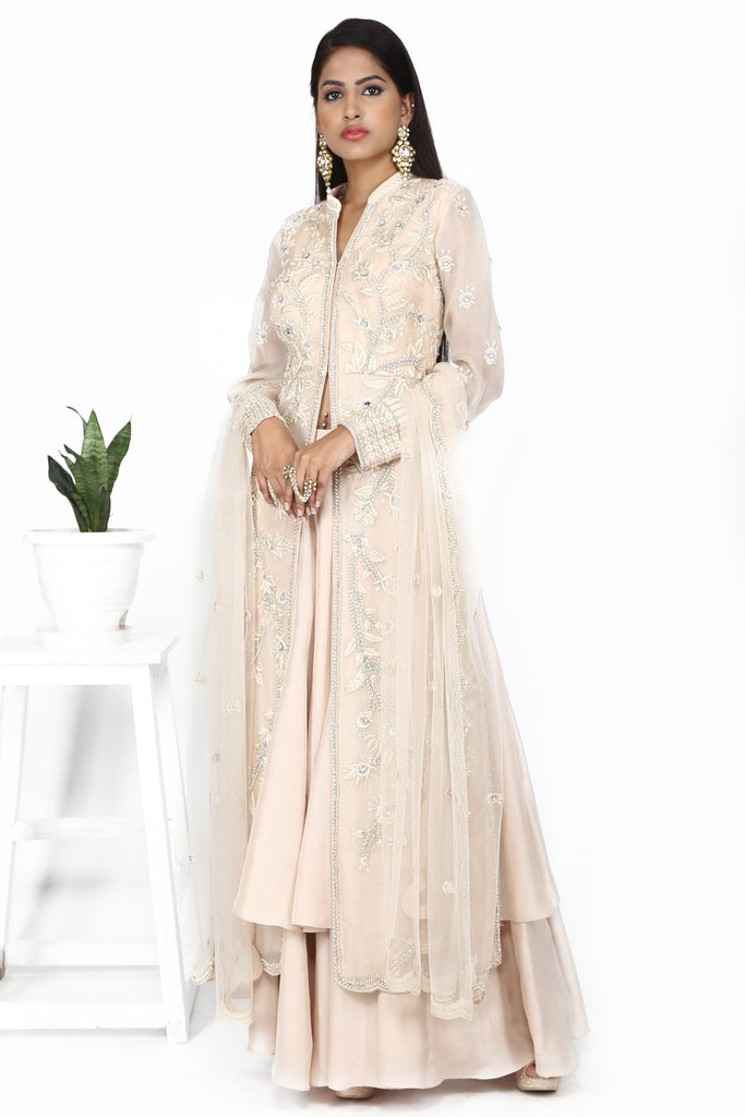 Soft pink sharara set.